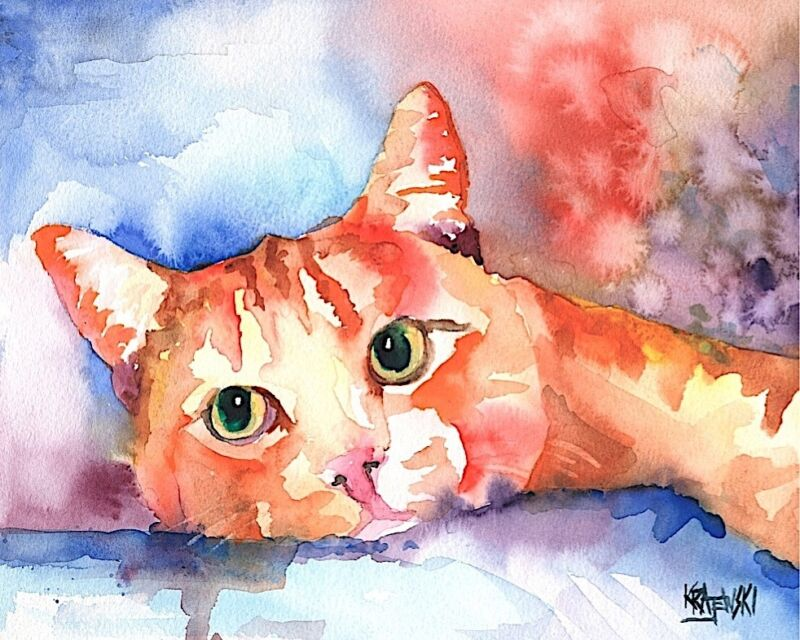 Tabby Cat Gifts | Cat Art Print from Painting | Poster, Picture, Decor 11x14