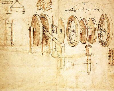 Leonardo Da Vinci Machine Gears Engineer Drawing Sketch Real Canvas Art Print