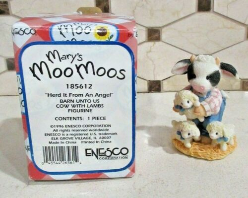 """Enesco Mary Moo Moos """"Herd It From An Angel"""" Figurine #185612 Free Shipping"""