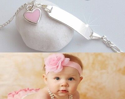 Herz Baby Armkette Armband mit Wunsch Gravur Name Geburt Echt silber 925 Taufe
