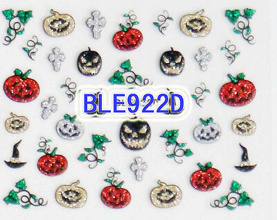 Halloween Gold Silver Black Red Glitter Pumpkin Cross 3D Nail Art Sticker Decals (Red Glitter Halloween Nails)