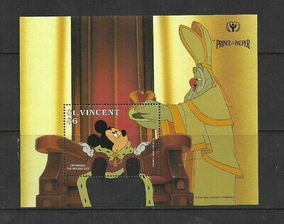 HICK GIRL- MINT ST. VINCENT SOUVENIR SHEET   DISNEY   PRINCE & PAUPER     A1