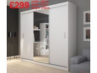 BRAND NEW Big 3 Doors Sliding Wardrobe with Mirror, Shelving, Hanging Rails, Drawers FREE DELIVERY