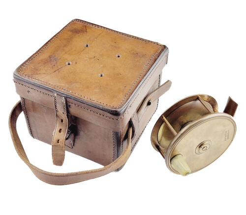 William W.M. Dodds Peebles UK Antique Vintage Salmon Fly Reel with Leather Case