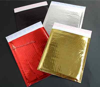 100pcs -6x10 Goldsilverredblack Combo Pack Metallic Foil Poly Bubble Mailers