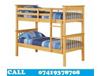 Pine Solid Wooden Bunk Bed / Double bed with Mattresses