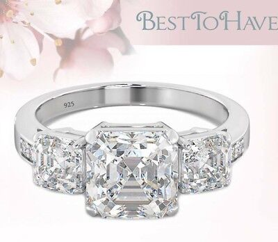 5.25ct Asscher Cut 925 Silver Ladies Wedding Engagement Ring - Post From UK