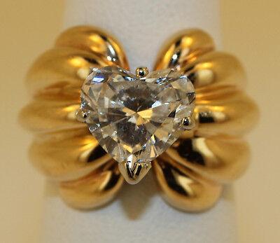 VINTAGE LADIES DIAMOND RING HEART SHAPE 2.9 CARAT BRIGHT POLISH FINISH 14K GOLD