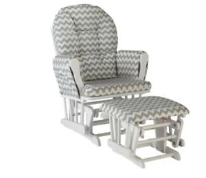 Stork Craft 06550-6101 Hoop Custom Padded Arm Cushion Glider & Ottoman - White/Grey (new other)