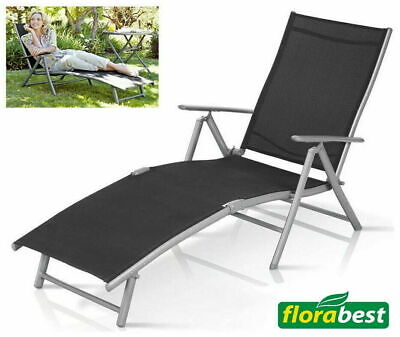 Fold Away Sun Lounger Adjustable Back Arm Rest Garden Chair Bed Patio Aluminium