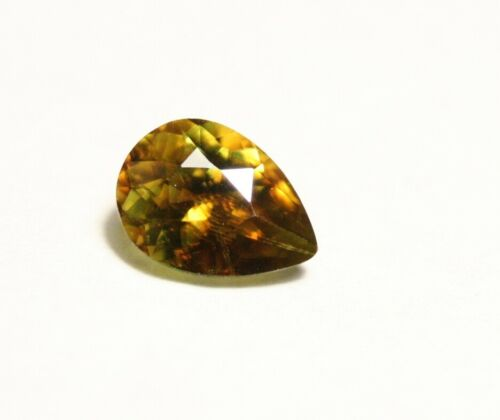 0.92ct Madagascan Yellow Sphene - Lovely Vibrant Titanite Pear Cut Gem 7x5mm