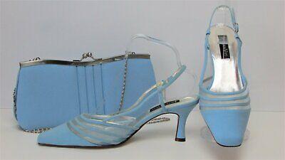 New Jacques Vert Sky Blue/Aqua Slingback Shoes Size 6/39 & Matching Bag