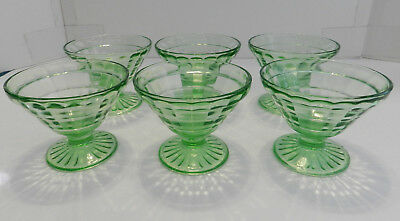 Set of 6 Anchor Hocking Green Block Optic Depression Glass Footed Sherbets Nice