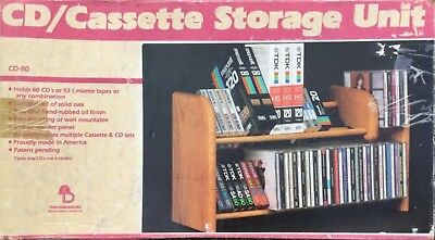 Tree Dimensions Solid Wood Cassette CD Storage Unit Display Rack Holds 53 Tapes
