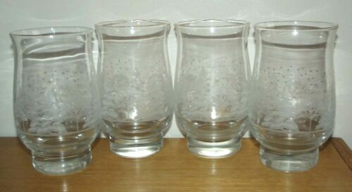 4 Libbey Christmas Winter White Frosted Pine Trees Tumblers Glasses Arby