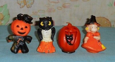 vintage Halloween GURLEY CANDLE LOT OF 4 owl, witch, scarecrow, jol/cat in mouth