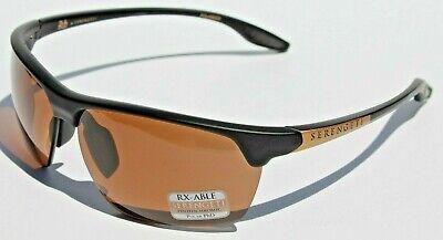 fe2dd81740e3 SERENGETI Linosa POLARIZED Sunglasses Satin Black/Gold PhD Driver NEW 8750  Japan