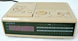 Vintage 1980s Sony Dream Machine ICF-C2W FM/AM Digital Clock Radio Alarm Almond