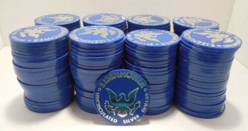 Lot of 200 Eisenhower Uncirculated Silver Dollar Blue Plastic Tokens - Blue Ikes