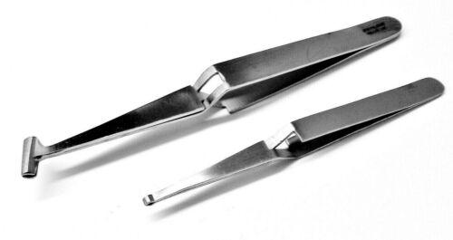 Set of 2 Grooved Tip Tweezers Parts Holding Specialty Soldering Handling Jewelry