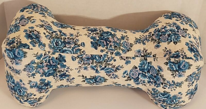Neck Pillow, Handmade, Dog Bone, WASHABLE -White W/Blue & Purple Flowers