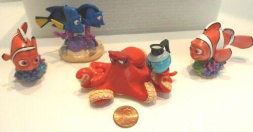 4 Disney Pixar Dory Finding Nemo Clown Fish Octopus Figurines PVC Cake Toppers