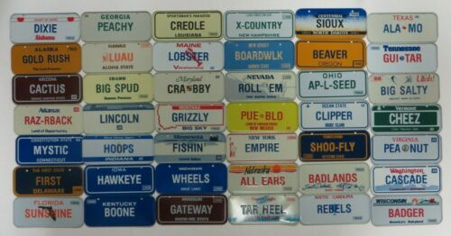 Vintage 1988 Post Cereal Mini Bicycle License Plate Lot of 42 US States Premium