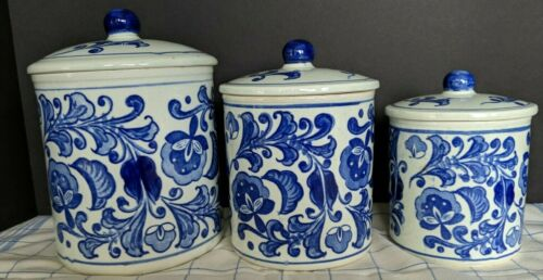 Vintage Set Of Blue And White Pottery Canisters