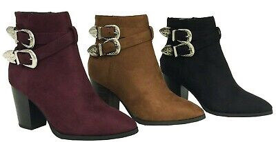 LUNA Delicious Women's Faux Suede Double Strap Buckle Stacked Heel Ankle Boots (Buckle Women Heel Boots)
