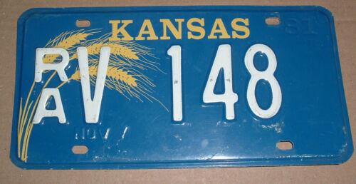 1981  Kansas License Plate RA V 148 Rawlins County Car Tag