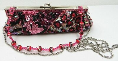 Vintage Flowers Beaded Evening Purse Clutch Boho Handbag Burgundy Satin  Flower Beaded Satin Clutch