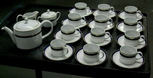 29 Pcs Cobalt & Gold Band VISTA ALEGRE Portugal China Set Teapot Cups & Saucers
