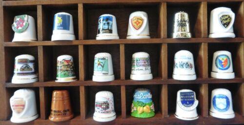 Thimble Lot of 18 Vintage Porcelain States Hawaii NM OK CA TX CO SC OH GA TN +