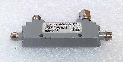 Weinschel 1538r-30 1 - 2 Ghz 30 Db Sma F-f-f Miniature Directional Coupler