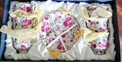 servizio da caffè 6 tazzine porcellana decorazione fiori bordo dorato vintage