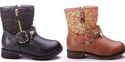 Toddler Girls Combat Boots (Girls toddler & Youth Embroidery Combat Boots Black,Tan size)