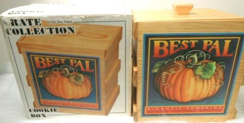 CRATE COLLECTION COOKIE BOX CANISTER FALL PUMPKINS VINTAGE NIB