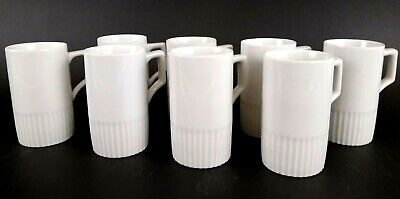 Set of 8 Espresso Mugs Turkish Coffee Cups White Porcelain Ribbed Squared Handle