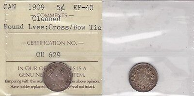 1909 ICCS EF40 5C ROUND LEAVES CROSS/BOWTIE CLEANED  VARIETY CANADA FIVE