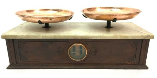 H (Henry) Troemner Old Balance Scale Antique w/ Wood Base & Marble Top