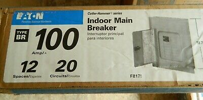 New Eaton Br1220h100 100 Amp Main Breaker 12 Space 20 Circuits Indoor Panel