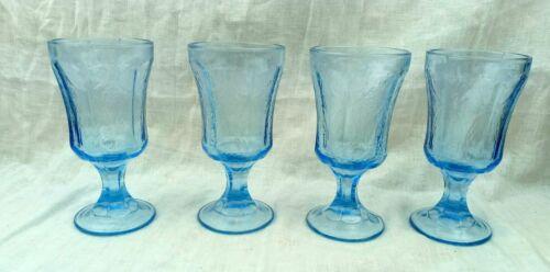 Set of 4 Vintage Indiana Glass Blue Madrid Goblet 10oz