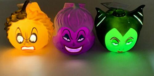(3) Disney Villains Mini Light Up Pumpkins Maleficent Cruella De Vil Ursula New