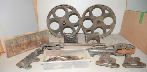 Industrial age Towsley 1889 factory cart rare cast iron wheels & hardware early