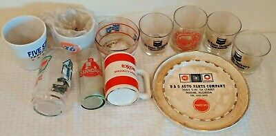 Vintage 1950s 1960s Gas Oil Advertising Glass Cup Mug Ashtray Delco Sinclair 76