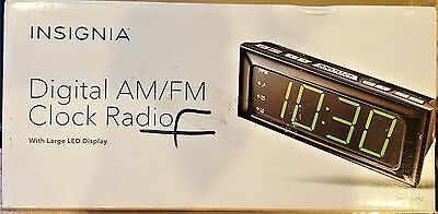 Insignia Digital AM/FM Clock Radio with Large LED Display Batter Back Up Alarm