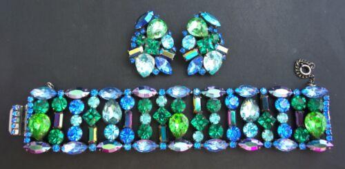 LARGE Vintage BLUE & GREEN Fruit Salad WIDE Rhinestone Bracelet & Earrings Set