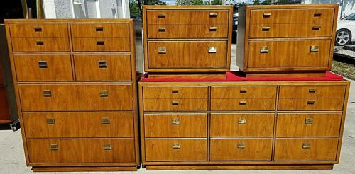 4 Pc DREXEL CONSENSUS Campaign Style Bedroom Set Mid Century Modern 1970