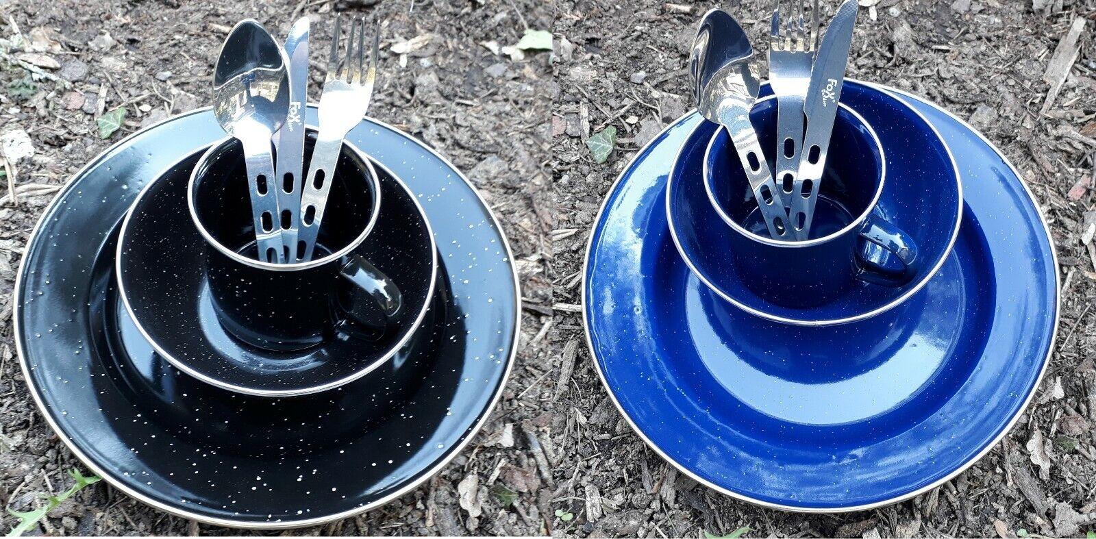 Email Campinggeschirr Set Tasse Teller Besteck Schüssel blau schwarz Emaille Neu