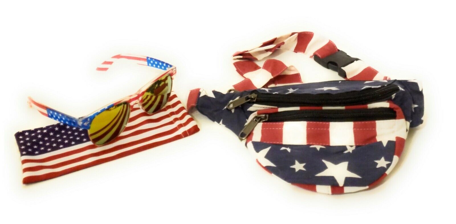 USA American Flag July 4th Fanny Pack Money Bag Waist Purse